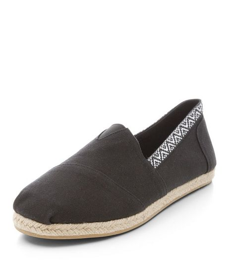 Black Aztec Tape Trim Espadrilles | New Look