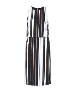Black Stripe Layered Midi Dress  | New Look