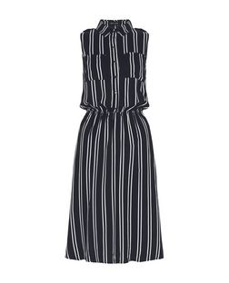 Navy Stripe Midi Shirt Dress  | New Look