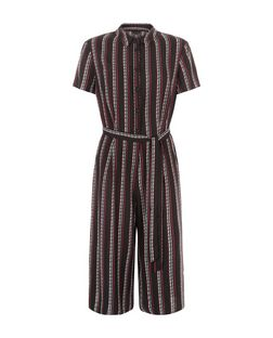 Black Stripe Shirt Culotte Jumpsuit | New Look