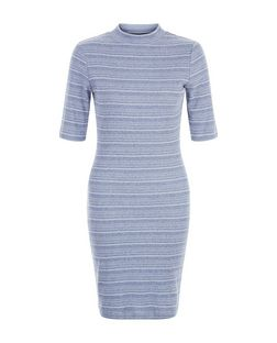 Blue Washed Stripe Funnel Neck Bodycon Mini Dress  | New Look