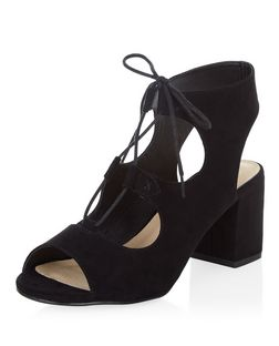 Black Comfort Ghillie Block Heel Sandals  | New Look