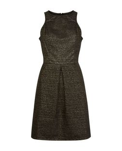 Poppy Lux Black Jacquard Dress  | New Look