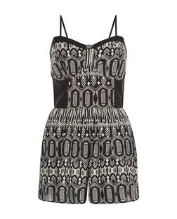 Black Tribal Print Strappy Playsuit  | New Look