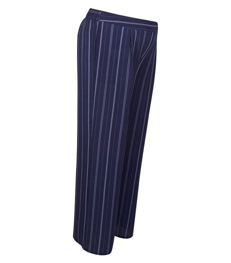 Maternity Blue Stripe Under Bump Wide Leg Trousers | New Look