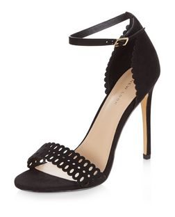 Black Suedette Laser Cut Out Heeled Sandals  | New Look