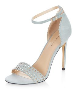 Pale Blue Suedette Laser Cut Out Heeled Sandals  | New Look