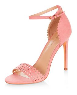 Coral Suedette Laser Cut Out Heeled Sandals  | New Look