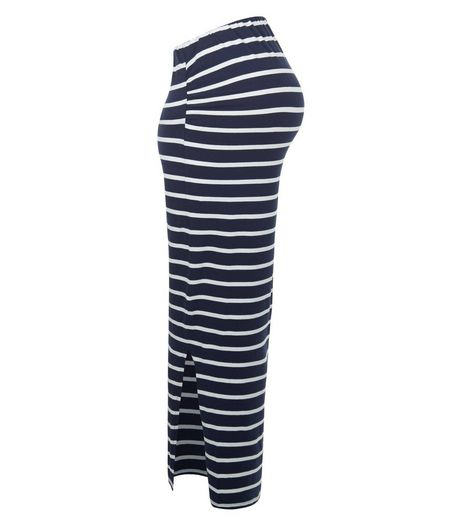 Maternity Blue Stripe Over Bump Maxi Skirt | New Look