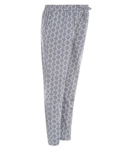 Maternity Blue Tile Print Under Bump Joggers | New Look