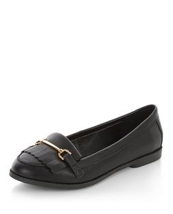 Wide Fit Black Fringe Metal Trim Loafers  | New Look