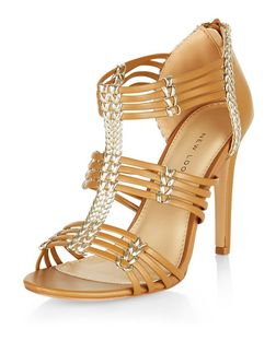 Wide Fit Camel Contrast Woven Strap Heels  | New Look