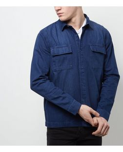 Navy Single Pocket Denim Shacket  | New Look