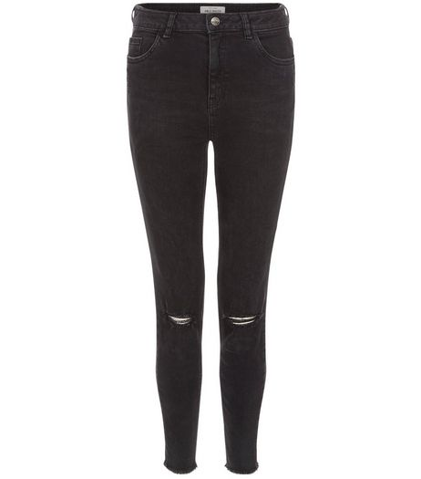 Black Ripped Knee Fray Hem Ankle Grazer Jeans  | New Look