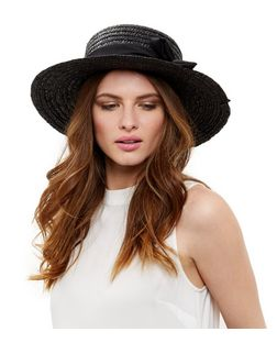 Black Oversized Bow Boater Hat | New Look