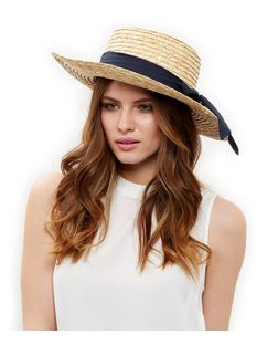 Stone Oversized Bow Boater Hat | New Look