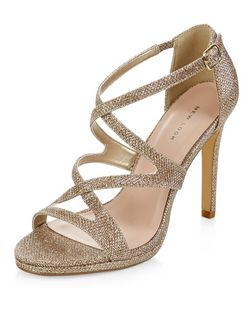 Gold Glitter Strappy Heels  | New Look