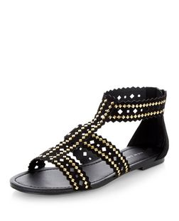 Black Studded Trim Laser Cut Out Sandals  | New Look