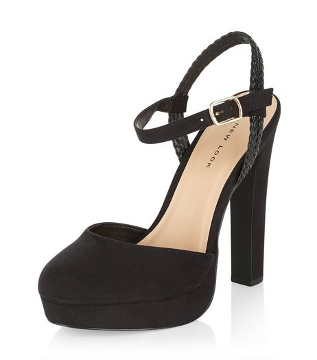 Black Suedette Plaited Strap Platform Heels  | New Look