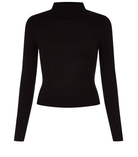Black Funnel Neck Long Sleeve Top  | New Look
