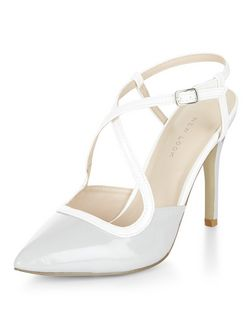 Pale Blue Patent Cross Strap Pointed Heels  | New Look