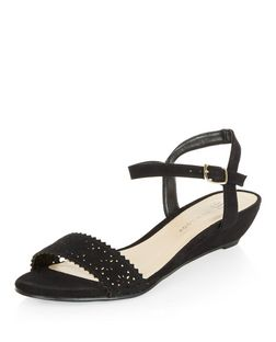 Teens Black Laser Cut Out Sandals | New Look