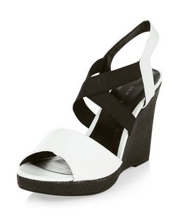 Wide Fit White Contrast Leather-Look Wedges | New Look