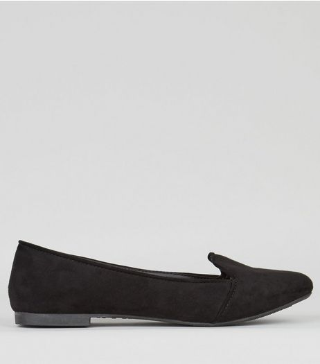 Black Suedette Tab Front Slipper Shoes | New Look