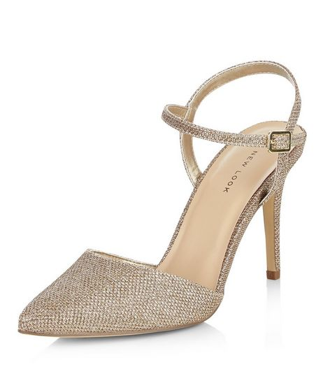 Gold Glitter Sling Back Pointed Heels  | New Look