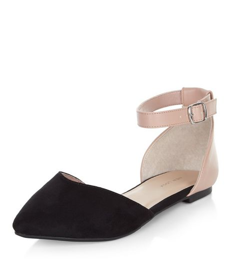 Black Colour Block Ankle Strap Flats | New Look