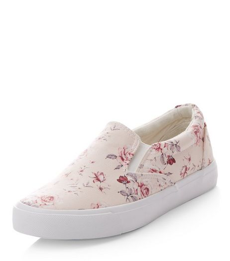 Pink Rose Print Slip On Plimsolls  | New Look