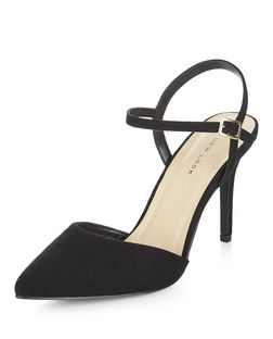 Black Suedette Pointed Ankle Strap Heels  | New Look