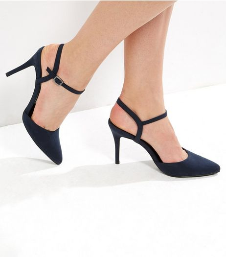 Navy Suedette Pointed Ankle Strap Heels | New Look