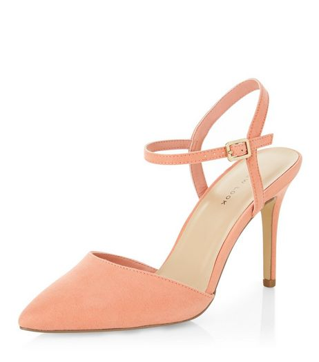 Coral Suedette Pointed Ankle Strap Heels  | New Look