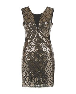 Blue Vanilla Black Diamond Print Sequin Dress | New Look
