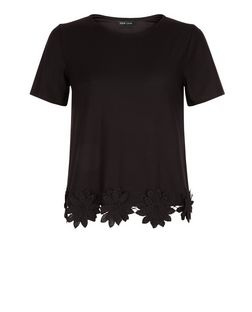 Black Floral Crochet Trim T-Shirt  | New Look