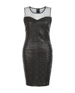 Blue Vanilla Black Zig Zag Sequin Mesh Panel Dress | New Look