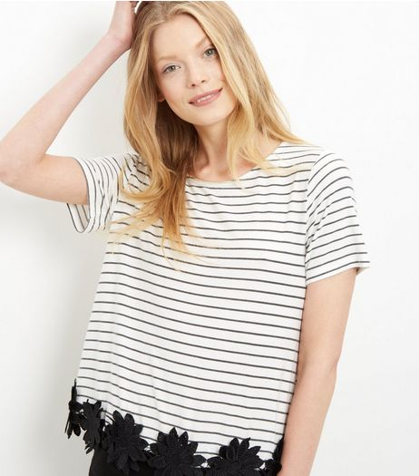 Black Stripe Crochet Trim T-Shirt  | New Look