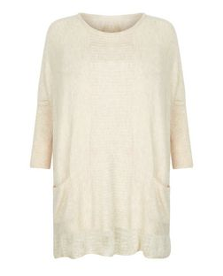 Blue Vanilla Stone Lace Hem Boxy Jumper  | New Look