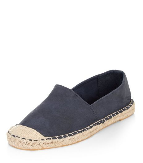 Navy Suedette Espadrilles  | New Look