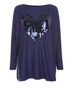 Blue Vanilla Navy Sequin Heart Oversized Jumper | New Look