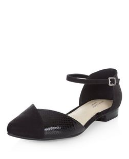 Black Comfort Snakeskin Textured Panel Ankle Strap Pumps  | New Look