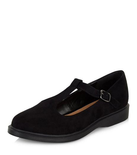 Black Suedette T-Bar Shoes | New Look