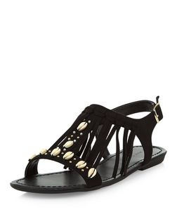 Black Suedette Shell Fringe Trim Sandals  | New Look