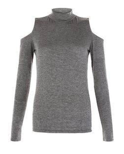 Dark Grey Cold Shoulder Funnel Neck Long Sleeve Top  | New Look