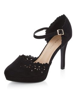 Wide Fit Black Suedette Laser Cut Out Platform Heels  | New Look