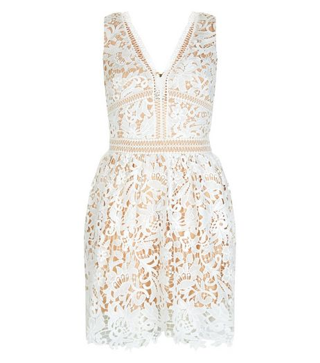 White Lace Ladder Trim Skater Dress  | New Look