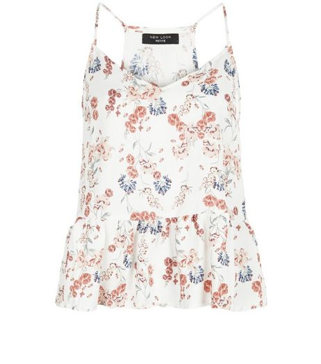Petite White Floral Print Peplum Cami  | New Look