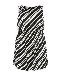 Curves Black Stripe Sleeveless Dress | New Look