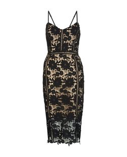 Black Lace Ladder Trim Bodycon Midi Dress | New Look